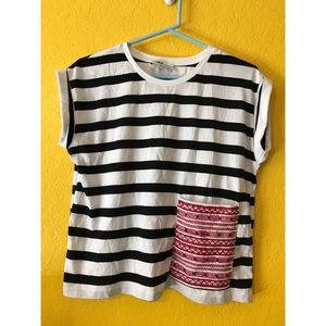 Zara Black and white striped top, red pocket small
